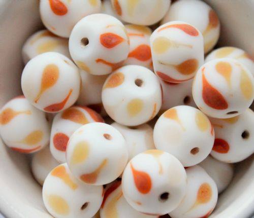 6 Caramel, Honey & White 14 mm Hand made Round Indian Glass Beads